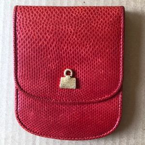Vintage Judith Leiber Red Pebbled Leather Wallet
